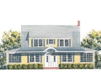 Custom Watercolor House Portrait Painting 10x14