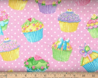 Flannel , cupcake w/ silver glitter,on pink background.