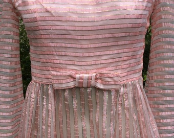 ON SALE  1960s vintage sheer pink bow tie candy stripe lurex maxi Xsmall