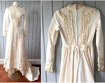 1970s Victorian Style Wedding Dress | Victorian Wedding Dress | 1970s Bride | 70s Wedding Dress | Bohemian Wedding Dress | Vintage Clothing