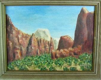 ORIGINAL PAINTING, desert scene,oil painting,southwest,Vintage Painting, Folk Art, German, framed art