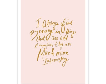 Marc Jacobs Art Print - Beauty in the Odd and Imperfect - Light Pink and Gold