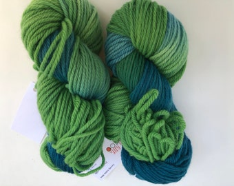 dyed greens- dyed yarn-green  Yarn- chunky Weight yarn-Hand Dyed - chunky Yarn Dyed- green heavy worsted-Variegated Yarn- green