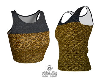 Gold scales tank, Mermaid top, Crop top, Dragon scales tank top, Women Yoga Top, Hot yoga tank, Gym clothes, Athletic tank top, Workout tank