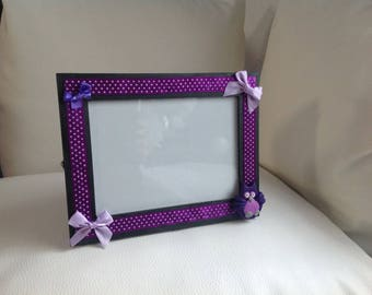 OWL... Purple violet gray photo frame
