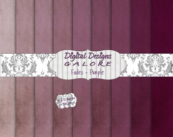 Fades Purple Digital Paper Pack Set of 9 - Commercial and Personal Use - Digital Designs Galore