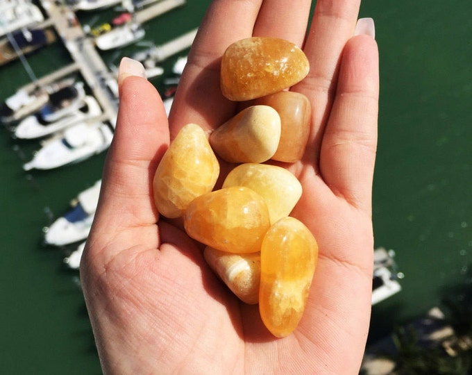 Yellow Calcite Healing Tumbled Stone Perfect for Reiki, Jewelry Supplies