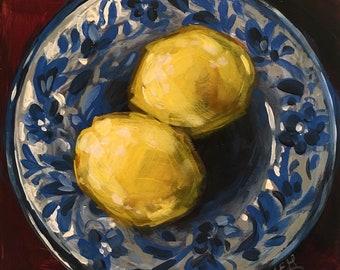 Lemons in Blue and White