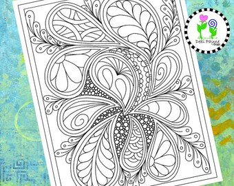 Abstract Doodle Design 12 Instant Download Coloring Page