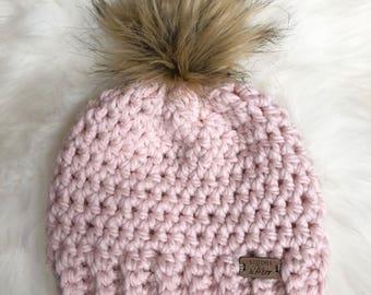 Child fur pom beanie pink fur pom hat