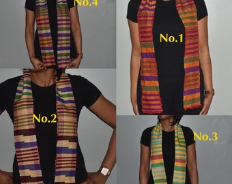 Kente Sash-Sash-Scarves and wraps- Shawls - Scarves-woven sashes-Gift -African accessories-Kente-Headwrap-African shop- Handwoven scarf