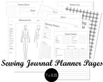 Sewing Journal Planner Pages Sewing Disc bound Planner Printable Sewing Planner