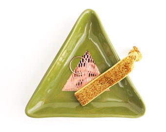 Triangle Ring Dish, Geometric Home Decor, Ceramic Trinket Dish, Gold Ring Dish, Gold Gifts for Her under 50, Ring Holder, Jewelry Storage