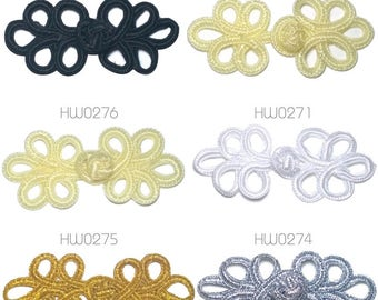 Traditional Knot Frog Fasteners Mandarin Collar Clasp - 1-10 pairs Cream, Black, White, Gold, Silver
