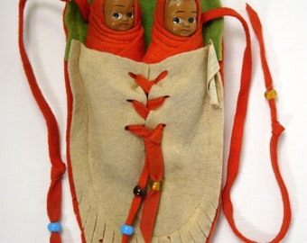 Antique 1920s Madame Hendren Twin Native American Indian Dolls Papoose Composition Tagged VGUC js