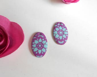 x 2 sequins violet 26 mm turquoise pattern