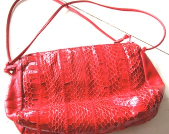 Bright Red Vintage Sylvia Cee Snake Skin - Leather Purse / Clutch 1980's - Handbag - Haute Couture - Colorful - Shoulder Strap - Clutch