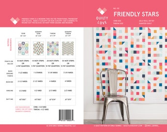Friendly Stars PDF quilt Pattern/ modern quilt pattern/ jelly roll quilt pattern/ star quilt pattern/ jelly roll quilt/ quilt pattern/ quilt