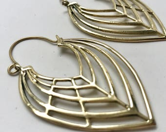 Modern Tribal Leaf Hoop Earrings