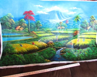 "Large Vietnamese oil painting on canvas 52"" x 35"""
