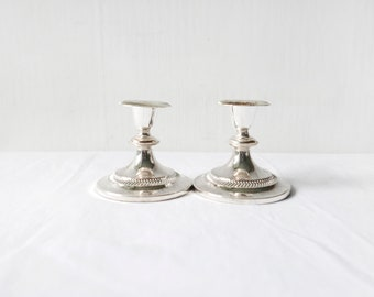 Set of 2 Elegant vintage candlestick-Candle holder-Candelabrum-Silver-Vintage Silver-1Branch Candelabrum-Home decor