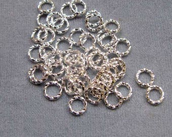 50 or 144 Pcs. 6 mm Silver Plated Twisted Jump Rings, Open, 18 Gauge