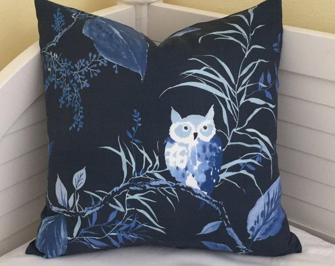 SALE, FREE Shipping, Kravet Owlish in Navy Designer Pillow Cover, 20x20