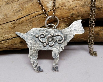 Goat Necklace, Baby Goat Charm Pendant, Sterling Silver Gemstone Necklace, Animal Fetish