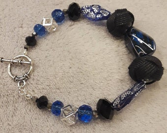 Indigo Blue and Black Beaded Bracelet
