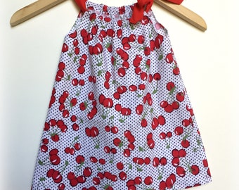 Girls Cherry Dress - Size 2 gift dress red cherry white, black dots