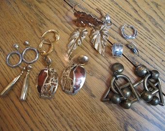 Lot of 9 Pairs Vintage Costume Earrings