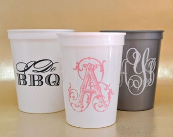Personalized Stadium Cups, Custom Plastic Cups, Wedding Cups, Monogrammed, Stadium Party Cups, Personalized Plastic Cups, Wedding Favors