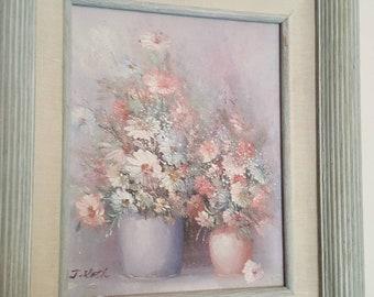 Pair of J Roth paintings of flowers in pots