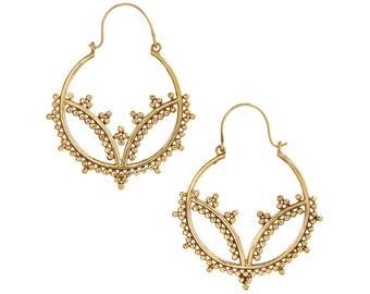 Boho Gold hoop earrings- Festival Jewelry-burning man-Coachella-Aztec tribal-Bohemian Gold Moon Earrings-Turkmen Afghan Jewelry ZEH126V
