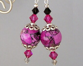 Orchid purple earrings, magnesite stone, violet mosaic statement earrings with Swarovski crystals