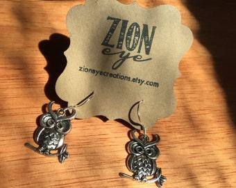 Silver Owl Earrings - Sterling Silver Earwires