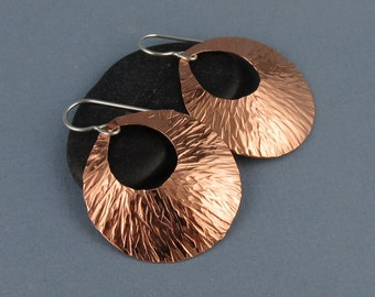 Modern Round Textured Copper Earrings