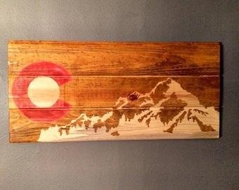 Colorado Flag, Colorado Art, Colorado Mountains, Colorado Wall Hanging, Colorado Wood Sign, Cabin Decor, Rustic Decor - (Red C)