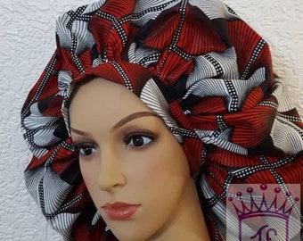Ankara satin lined bonnet with comfortable fit for natural hair and all hair type