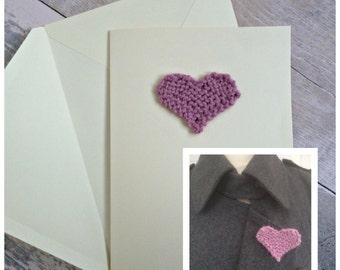 Handmade Anniversary Card, Heart 7th Anniversary Card, Knitted Heart Wedding Anniversary Card and Brooch Set, Anniversary Gift Set for Her