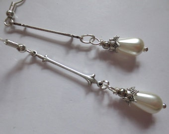 Art Deco earrings pearl drop Art Nouveau earrings white pearl drop silver finish Edwardian wedding vintage style long