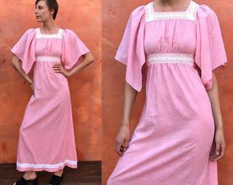Vintage 1970s Pink Boho Festival Hippie Maxi Dress. hippie  flutter dolly dress. Cotton gauze. Vintage maxi dress. SAKS FIFTH AVENUE sm med