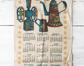 Vintage Kitchen Linen Towel - 1968 Calendar Towel - Kitchen Dish Towel - Retro Tea Towel - Lois Long - Screen printed Towel