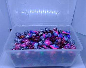 Mix of Colored Fimo pearls, various sizes and patterns-Batch end Series