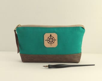 Emerald green canvas zipper pouch, canvas leather pouch,  drawing pouch, canvas pencil bag, canvas leather pouch, emerald green zipper bag
