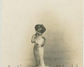 Lady Little midget little person sideshow circus antique rppc photo