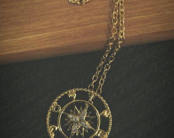"18"" Gold Plated Love Compass Adventure Necklace"