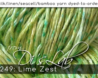 From the Lab - DtO 249: Lime Zest on Silk/Linen/Seacell/Bamboo Yarn Custom Dyed-to-Order