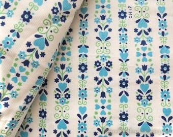 LAST Piece-Shabby Chic Blue Nordic Tulip Heart Floral Stripe On Cream White - Japanese Corduroy Cotton Fabric (Fat Quarter)