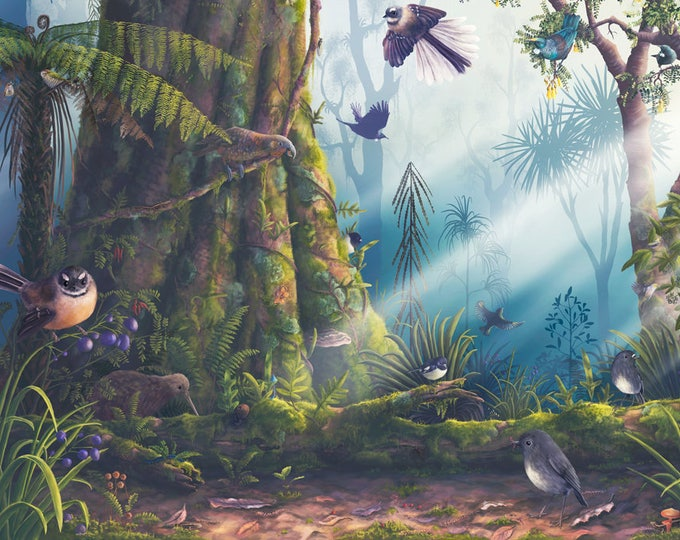 Native Birds of NZ Poster, New Zealand birds, Fantail art, Tui print, Kiwi art, Educational poster, Kiwiana print, New Zealand art, Kaka art